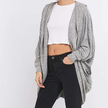 Sparkle & Fade Cosy Grey Hoodie Cardigan - Urban Outfitters