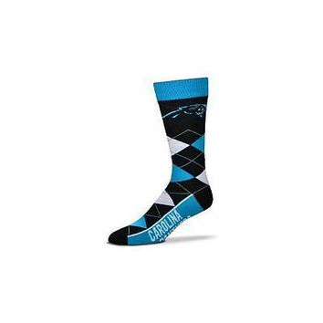NFL Carolina Panthers Argyle Unisex Crew Cut Socks - One Size Fits Most