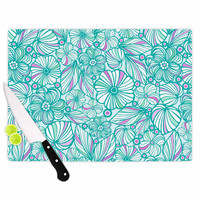 """Julia Grifol """"My Turquoise Flowers"""" Teal Pink Cutting Board"""