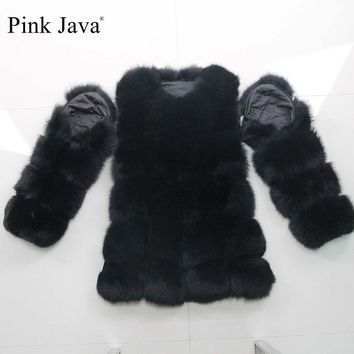 pink java QC8100 FREE SHIPPING women winter real fox fur coat long sleeves fox fur jacket detachable sleeve fur coat fashion