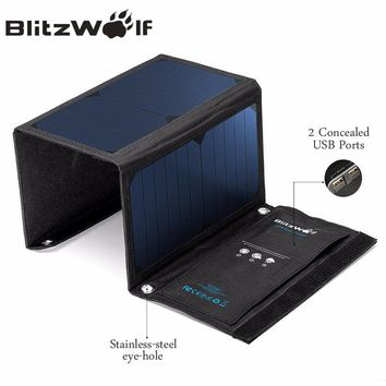 BlitzWolf 20W Solar Power Bank Solar Panel Portable Charger