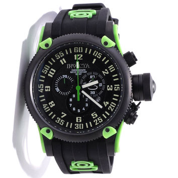 Invicta 10183 Men's Russian Diver Green Accents Black Dial Silicon Rubber Strap Chronograph Watch