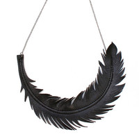 Feather Necklace Black Leather Feather Jewelry by LoveAtFirstBlush