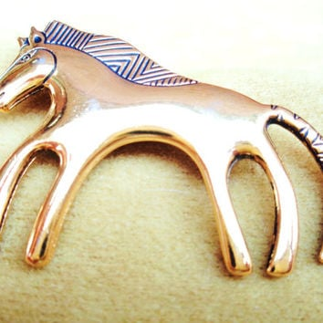 Vintage Gold Tone Laurel Burch Horse Brooch - Pin - Engraved Detail