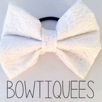 White Lace Bow Lace Hair Tie White Pony Tail Holder by bowtiquees