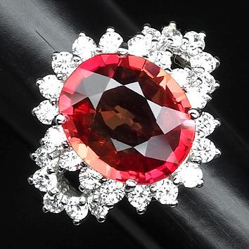 SOLD - A Vintage 7.5CT Oval Cut Pink Padparadscha Sapphire Ring