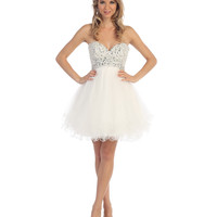 Off White Strapless Beaded Sweetheart Short Dress 2015 Homecoming Dresses