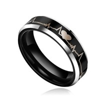 6mm Black Tungsten Metal Ring Forever Love Heartbeat Laser Engraved Comfort Fit Wedding Band (5.5)