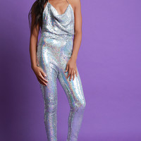 Sequins Draped Halter Backless Jumpsuit | UrbanOG