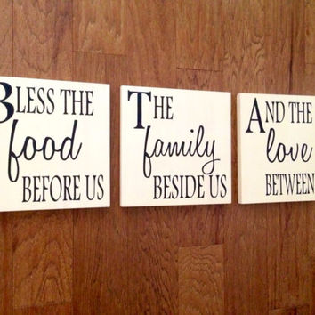 Bless the Food Before Us the Family Beside Us and the Love Between Us Wood Signs, Stained and Hand Painted, Kitchen sign, Dining room signs