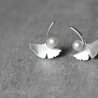 Ginkgo Leaf Pearl Earrings, Sterling Silver Leaf Stud Earrings, Leaf Earrings, Ginkgo Earrings, Leaf Jewelry, Pearl Jewelry, gift for her