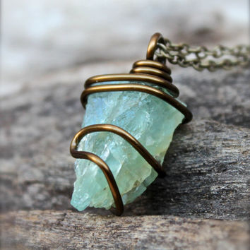 Rough Aquamarine Necklace - Wire Wrapped Stone Jewelry - Natural Aquamarine Jewelry - Boho Gypsy Necklace - Gemstone Jewelry Stone Necklace