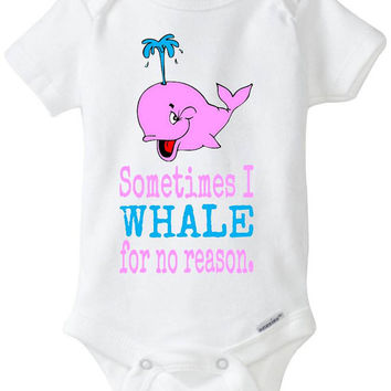 """Pink Girl Whale Onesuit - Funny Baby Gift: - """"Sometimes I Whale for no reason"""" Babyshower gift in preemie size - 24m Baby Clothes"""