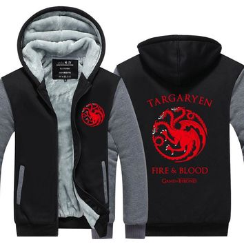 2017  New Game Of Thrones House Of Targaryen Autumn Winter Zipper Fleece Hoodies Men Hoody Hip Hop Coat USA EU size Plus size