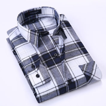 Spring Men's Plaid Checked Brushed Flannel Shirt Classic Turn-down Collar Comfort Soft Casual Slim-fit Long Sleeve Shirts
