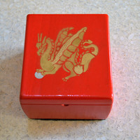 Handmade Gold Painted Dragon on Red Decorative Wood Memento or Keepsake Box