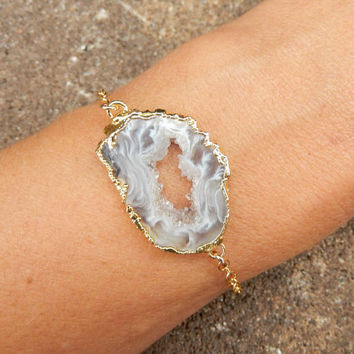 Geode Slice Bracelet 14K Gold Freeform Druzy Crystal Quartz Rock Agate Boho Cream White - Free Shipping OOAK Jewelry