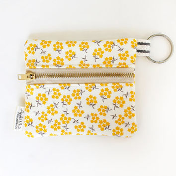 Yellow Floral Coin Purse Wallet, Key Ring, Gray, Gift Idea, Business Card Holder, Credit Card Case, Gift Card Holder