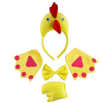 Animal Yellow Chicken Headband Bow Tie Tail Paws Gloves Cosplay Costume Set Kids Adults Party Dress  Halloween Christmas
