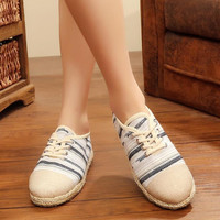 Linen striped flat bottom breathable straw weave shoes