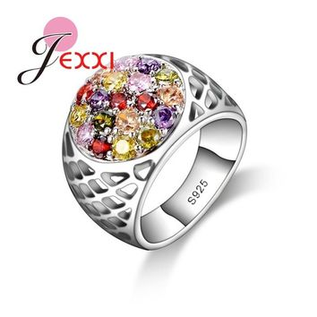 JEXXI Round Colorful Crystal Stone 925 Sterling Silver Hollow Wide Band Women Finger Rings for Wedding Engagement Jewelry