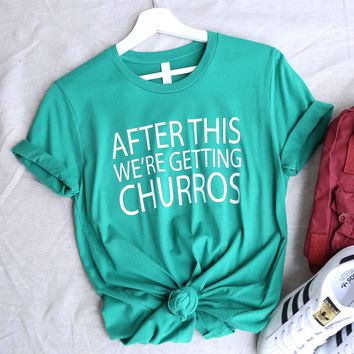 distracted - after this we're getting churros unisex graphic tee - green/white