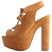 Tan Peep Toe Lace-Up Platform Booties by Charlotte Russe