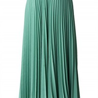 Green Pleated Maxi Skirt - Retro, Indie and Unique Fashion