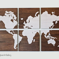 The Wood Grain World Map Collection II by CallaghanArtGallery