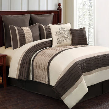 12pc WIND. Chocolate/Ivory/Beige Luxury Size: Queen Sheet Set Color: Gold