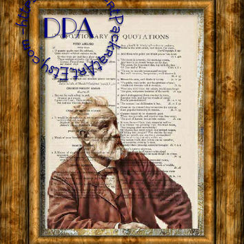 Author Jules Verne Drawing Art - Vintage Dictionary Page Art Print Upcycled Page Print