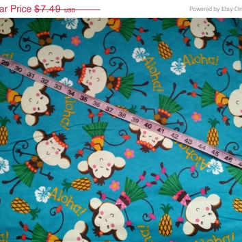 Flannel fabric Under the aloha girl monkey Hawaii cotton quilt print quilting sewing material to sew by the yard crafts crafting project kid