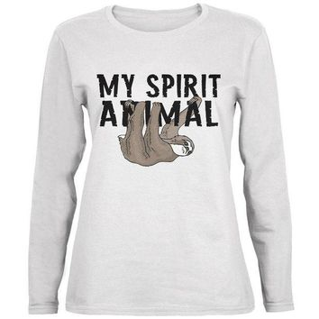 CREYCY8 Sloth My Spirit Animal Ladies' Relaxed Jersey Long-Sleeve Tee