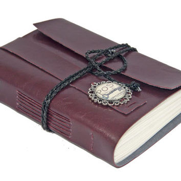 Burgundy Faux Leather Journal with Cameo Bookmark