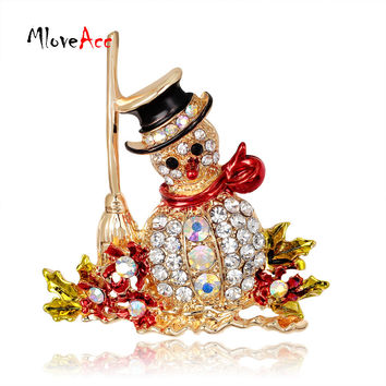 Gorgeous Crystal Rhinestone Christmas Snowman Brooch Pin Cute Xmas Gift
