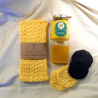 Bath Gift Set, Monkey Farts, Banana Candle, Face Scrubbies, Washcloth, Olive Oil Soap
