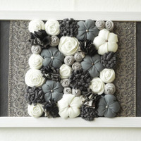 Framed fabric flower wall art - 3D design home decor - Gray beige white brown - OOAK - ready to ship