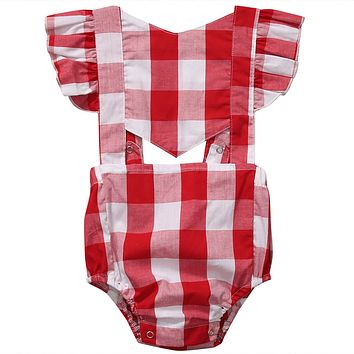 Baby Girls Check Clothes Sleeveless Plaid Romper Butterfly sleeves Jumpsuit Outfit