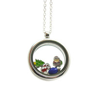 Floating Charm Locket Necklace, Memory Locket, Floating Charm Necklace, Memory Locket Necklace, Floating Locket, Christmas Charm Necklace