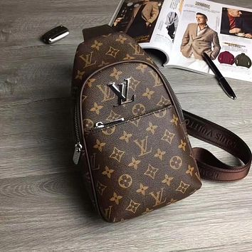 LV Louis Vuitton MEN'S MONOGRAM LEATHER CHEST BAG CROSS BODY BAG