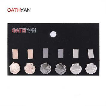 OATHYAN 6Pairs/Lot Silver Black Gun Gold Color Stud Earring Set For Women Statement Star Square Shell Earrings Set Girls Brinco