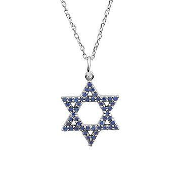 Blue Sapphire Star of David Necklace in 14k White Gold, 16 Inch