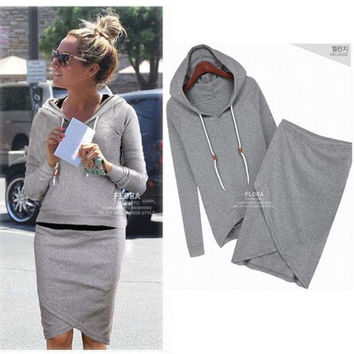Two Pieces Sports Hoodie Knee-length Skirt Activewear Set