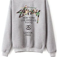 Golden Letter Print Sweatshirt