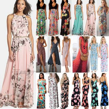 Women Boho Floral Long Maxi Dress Cocktail Party Evening Summer Beach Sundress   1