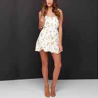 White Floral Print Strap Mini Dress
