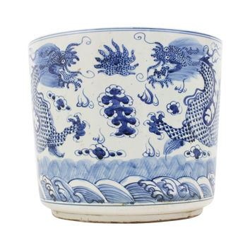 Beautiful Blue and White Porcelain Round Chinese Dragon Flower Pot Bowl 12""