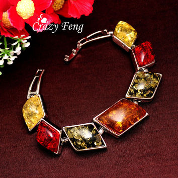 Women/Girl's Vintage Retro Bohemia Silver Plated amber Gem Colorful Bracelets & Bangles Jewelry Gifts Free shipping
