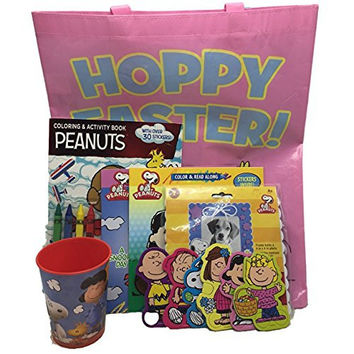 Charlie Brown Peanuts Easter Fun Pink Tote Bag, 2 Books, Craft Frame, 16 oz Cup, Coloring Activity Bundle Set of 7
