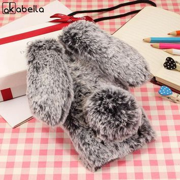 AKABEILA Rabbit Fur Phone Case For Apple iPhone X iPhone 10 iPhone Ten Cases Soft TPU Covers With Rhinestone Phone Cover Shield